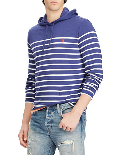 Polo Ralph Lauren Weathered Cotton Striped Hoodie-BLUE-Large Tall