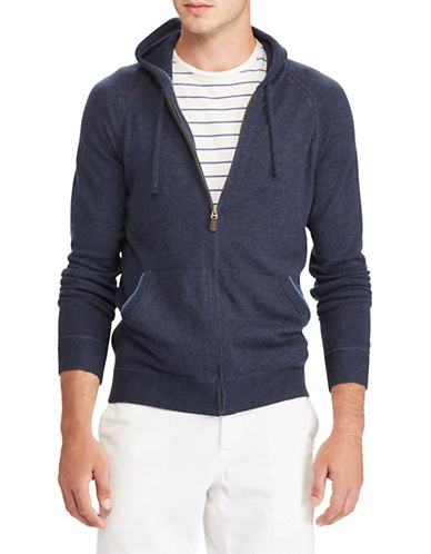 Polo Ralph Lauren Long Sleeve Cashmere Hoodie-BLUE-X-Large