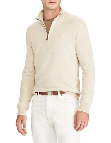 Polo Ralph Lauren Cotton Half-Zip Sweater-NATURAL-Large