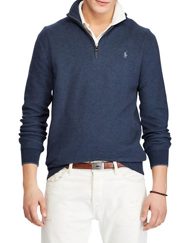 Polo Ralph Lauren Cotton Half-Zip Sweater-NAVY-Small