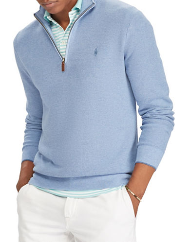 Polo Ralph Lauren Cotton Half-Zip Sweater-BLUE-Small