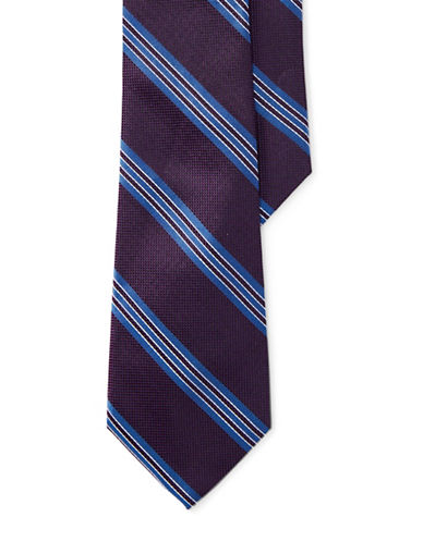 Lauren Ralph Lauren Textured Three-Stripe Silk Tie-BLUE-One Size