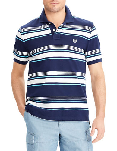 Chaps Stretch Mesh Striped Polo-NAVY-X-Large