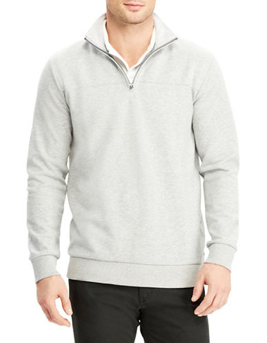 Chaps Quarter-Zip Cotton-Blend Pullover-GREY-X-Large