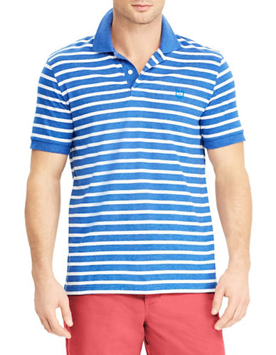 Chaps Coolmax Jersey Striped Polo-BLUE-Medium