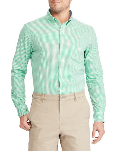 Chaps Modern Fit Stretch Cotton Sport Shirt-GREEN-3X Big