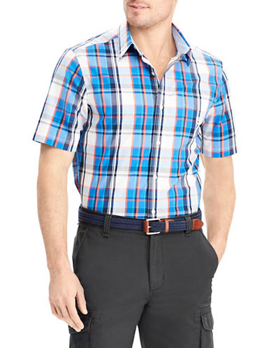 Chaps Plaid Short-Sleeve Sport Shirt-BLUE-Medium
