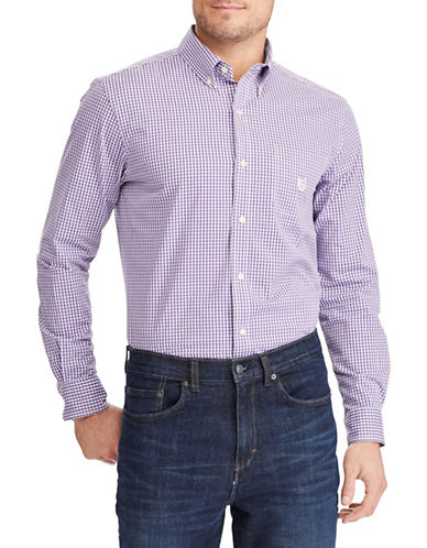 Chaps Stretch End-Of-End Sport Shirt-PURPLE-Small