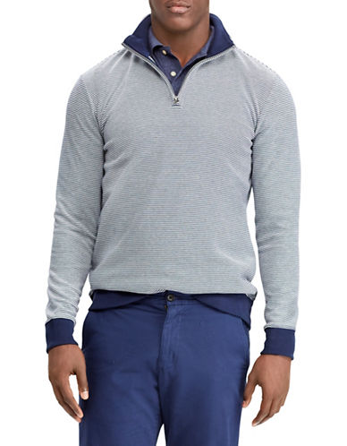 Chaps Striped Cotton-Blend Pullover-NAVY-Medium