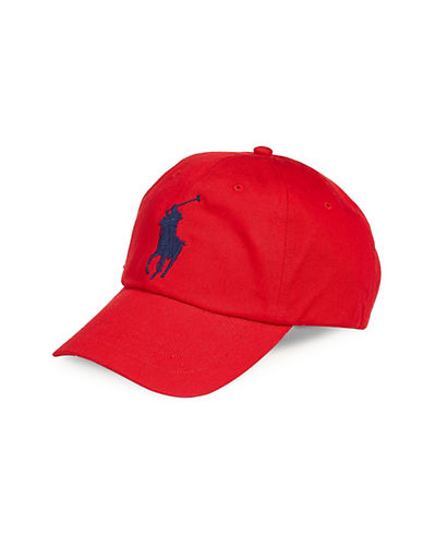 Polo Ralph Lauren Embroidered Leather-Trim Baseball Cap-RED-One Size