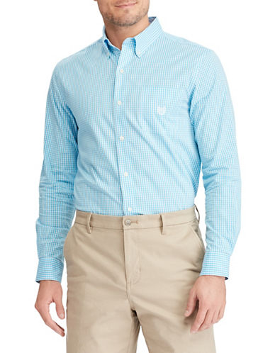 Chaps Stretch End-Of-End Sport Shirt-BLUE-4X Big