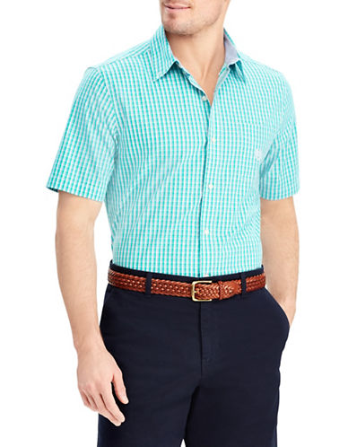 Chaps Plaid Short-Sleeve Sport Shirt-GREEN-Medium