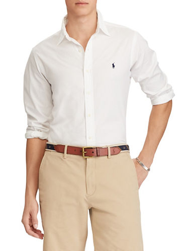 Polo Ralph Lauren Slim-Fit Twill Cotton Sport Shirt-WHITE-Small