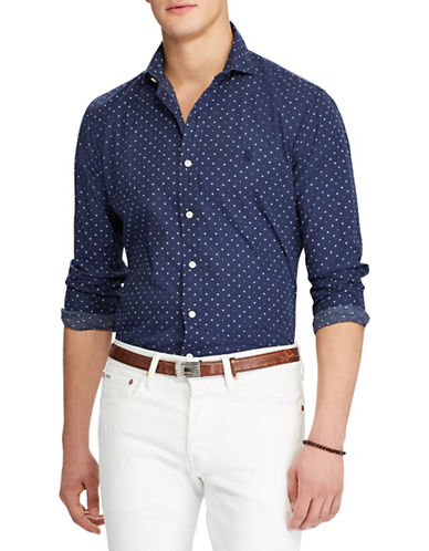 Polo Ralph Lauren Slim Fit Dotted Cotton Sport Shirt-BLUE-Small