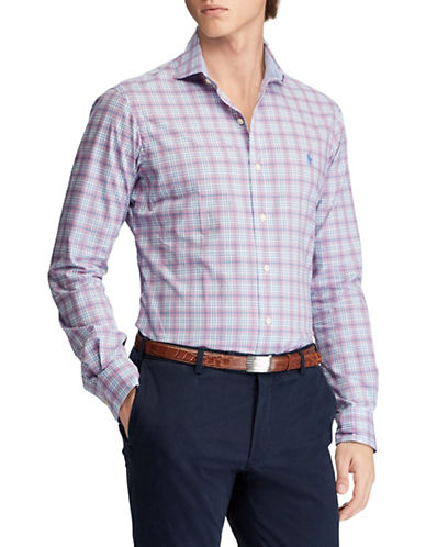 Polo Ralph Lauren Slim-Fit Floral Stretch Cotton Sport Shirt-PURPLE/RED-Large
