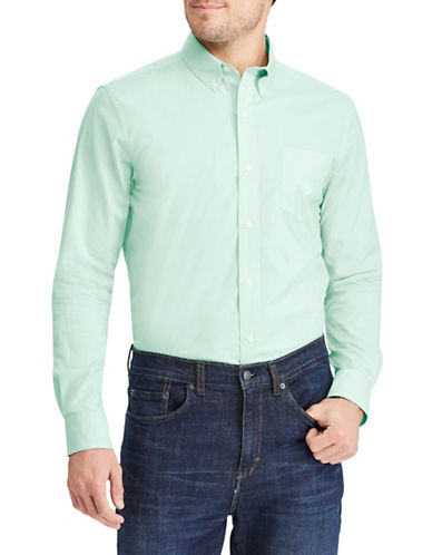 Chaps Long-Sleeve Sport Shirt-GREEN-Large