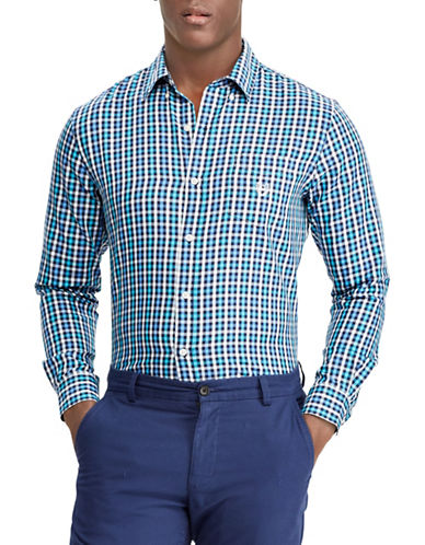 Chaps Checked Twill Sport Shirt-NAVY BLUE-X-Large