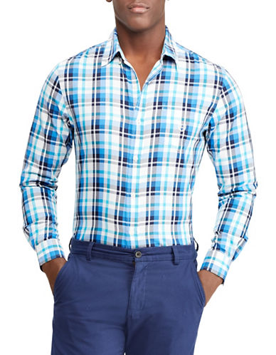 Chaps Plaid Twill Sport Shirt-WHITE-X-Large