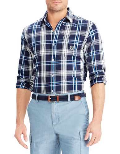 Chaps Plaid Twill Sport Shirt-NAVY BLUE-Medium