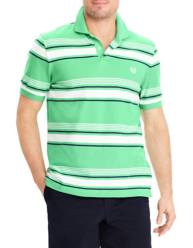 Chaps Stretch Mesh Striped Polo-GREEN-Small