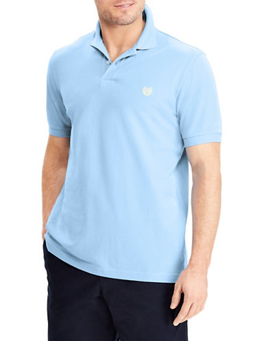 Chaps Big and Tall Cotton Mesh Polo-BLUE-1X Tall