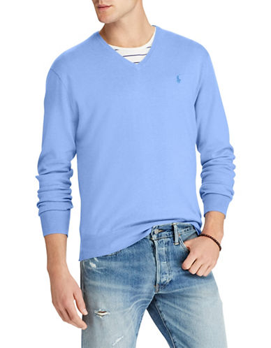 Polo Ralph Lauren Classic V-Neck Cotton Sweater-BLUE-Small