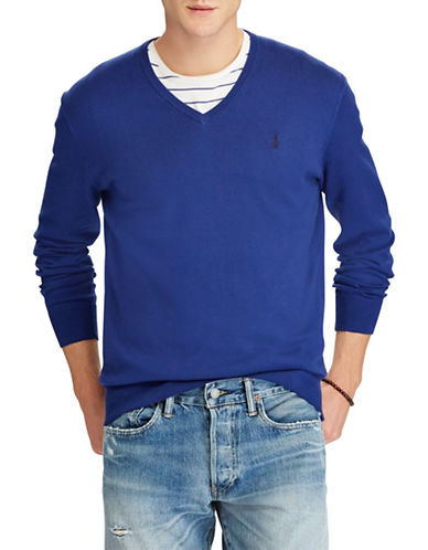 Polo Ralph Lauren Classic V-Neck Cotton Sweater-DARK BLUE-X-Large