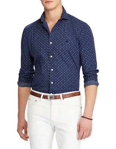 Polo Ralph Lauren Dotted Long-Sleeve Cotton Sport Shirt-BLUE-Small