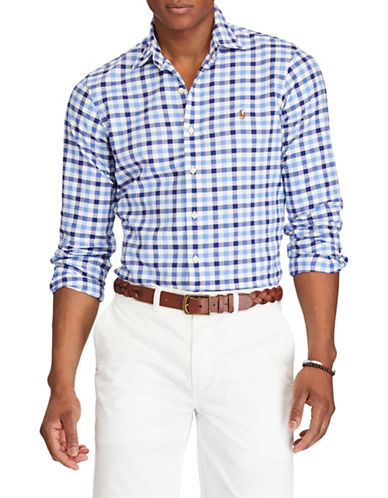 Polo Ralph Lauren Gingham Long-Sleeve Cotton Sport Shirt-BLUE-X-Large