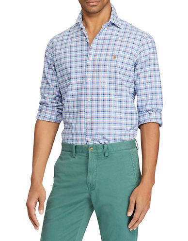 Polo Ralph Lauren Classic-Fit Plaid Cotton Sport Shirt-BLUE-X-Large