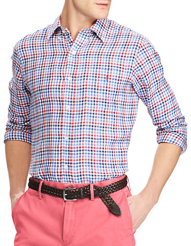 Polo Ralph Lauren Classic-Fit Plaid Linen Sport Shirt-RED-Medium 89952557_RED_Medium