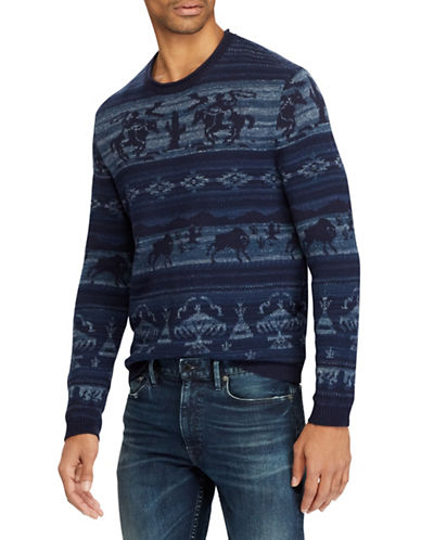 Polo Ralph Lauren Intarsia Cotton-Blend Sweater-NAVY-Small
