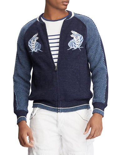 Polo Ralph Lauren Souvenir Full-Zip Cotton Sweater-BLUE-X-Large 89880985_BLUE_X-Large