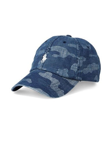 Polo Ralph Lauren Camouflage Chambray Baseball Cap-BLUE-One Size