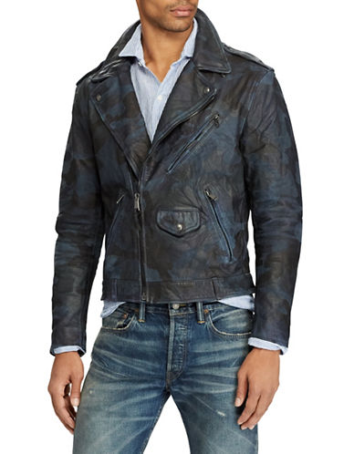 Polo Ralph Lauren Camo Leather Biker Jacket-BLUE-XX-Large
