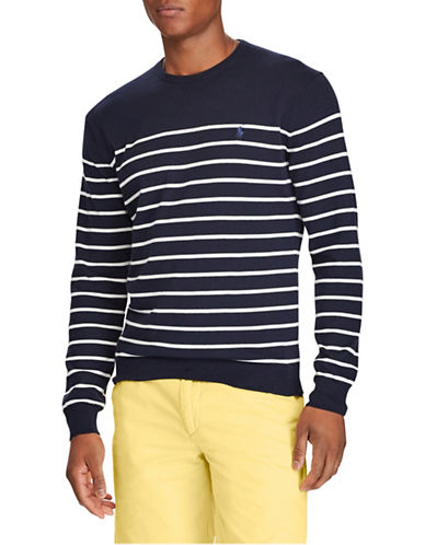 Polo Ralph Lauren Striped Cotton Sweater-NAVY-Small
