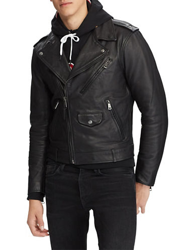 Polo Ralph Lauren Zip Leather Biker Jacket-BLACK-X-Large