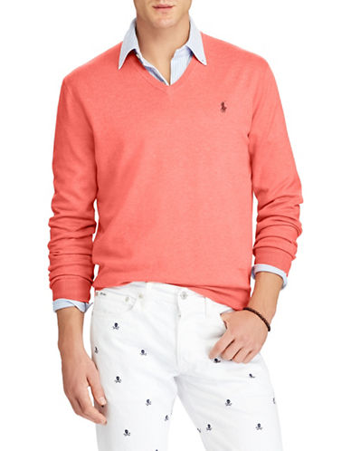 Polo Ralph Lauren Classic V-Neck Cotton Sweater-PINK-Small