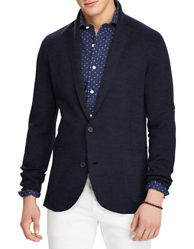 Polo Ralph Lauren Linen-Wool Cardigan-BLUE-Large