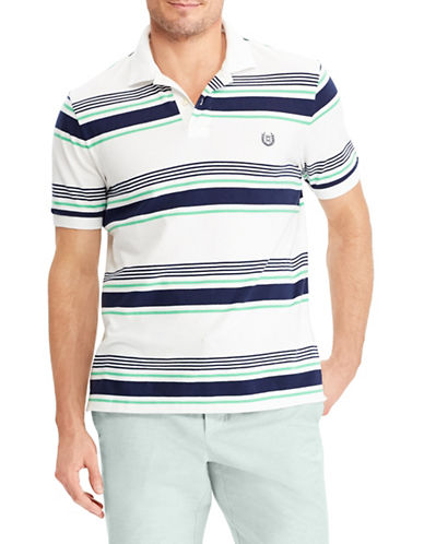 Chaps Stretch Mesh Striped Polo-WHITE-Large
