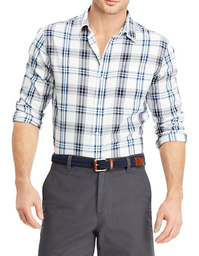 Chaps Plaid Twill Sport Shirt-WHITE-Medium