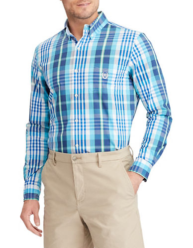 Chaps Poplin Long-Sleeve Sport Shirt-BLUE-Medium