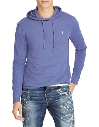 Polo Ralph Lauren Long-Sleeve Cotton Jersey Hooded Tee-BLUE-Small