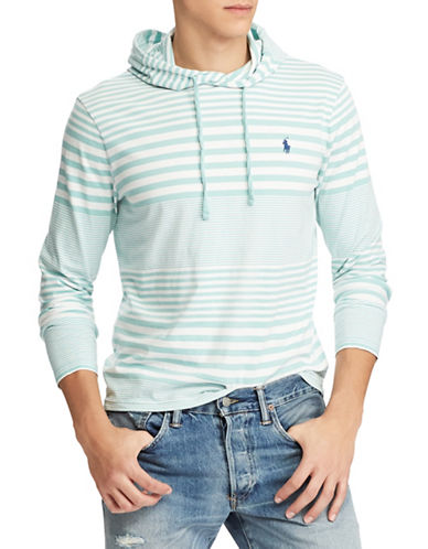 Polo Ralph Lauren Striped Cotton Hooded Tee-GREEN-Large