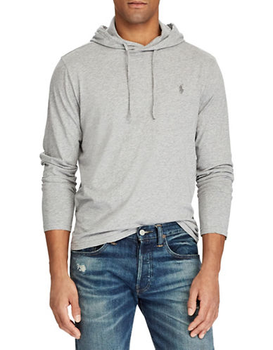 Polo Ralph Lauren Big and Tall Hooded Cotton Tee-GREY-1X Big