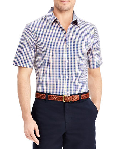 Chaps Plaid Short-Sleeve Sport Shirt-NAVY BLUE-Large