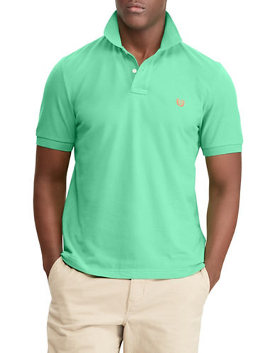 Chaps Cotton Mesh Polo-GREEN-Medium