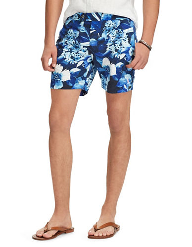 Polo Ralph Lauren Tropical-Print Swim Trunks-BLUE-32