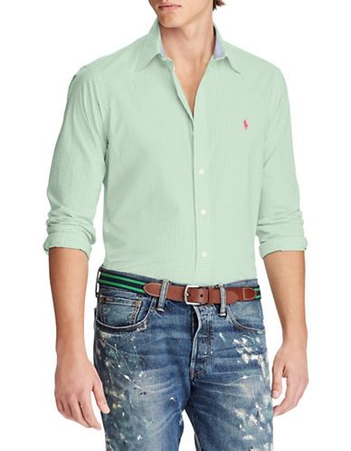 Polo Ralph Lauren Slim-Fit Checked Cotton Sport Shirt-GREEN-X-Large