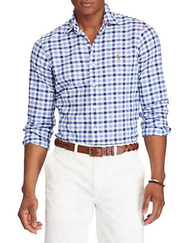 Polo Ralph Lauren Big and Tall Classic-Fit Plaid Cotton Sport Shirt-BLUE-1X Tall